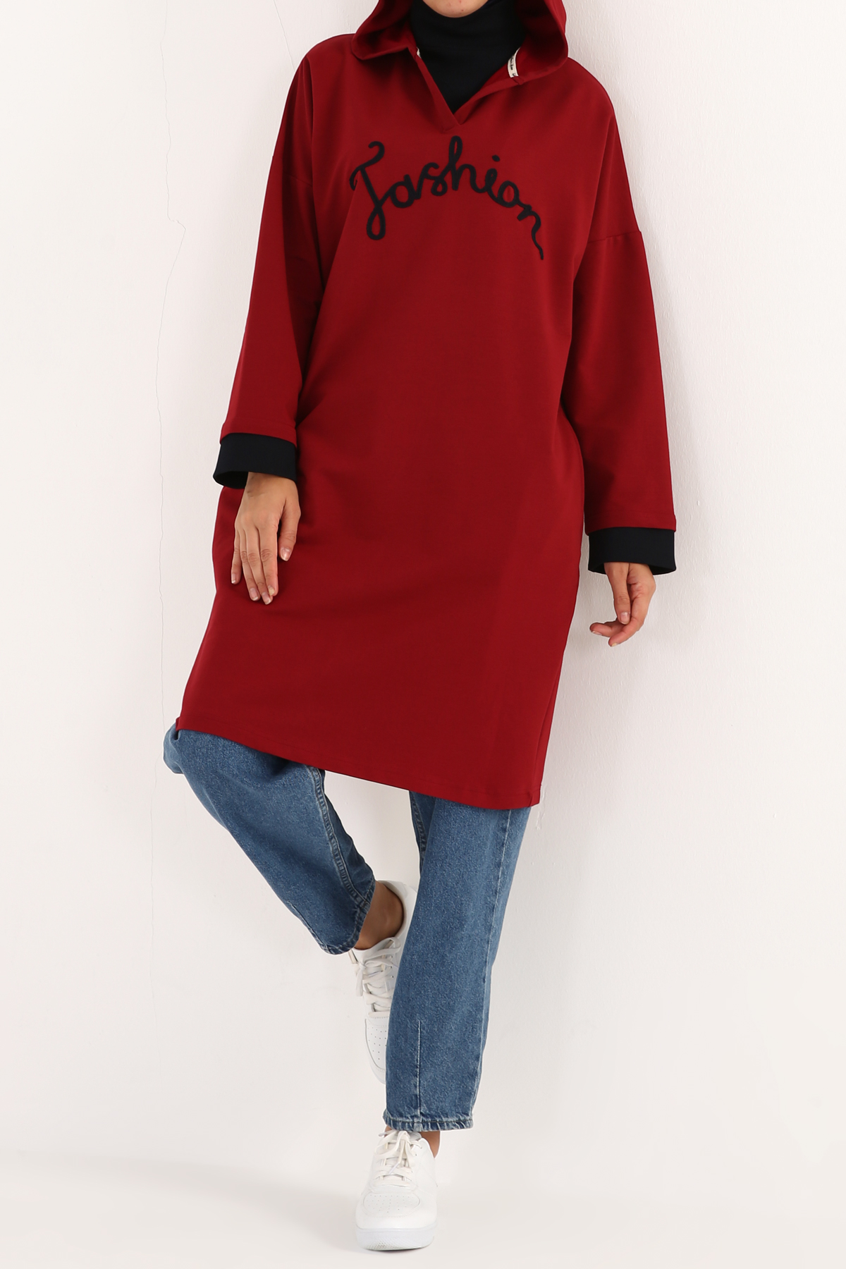 Embroidered Hooded Pocket Tunic