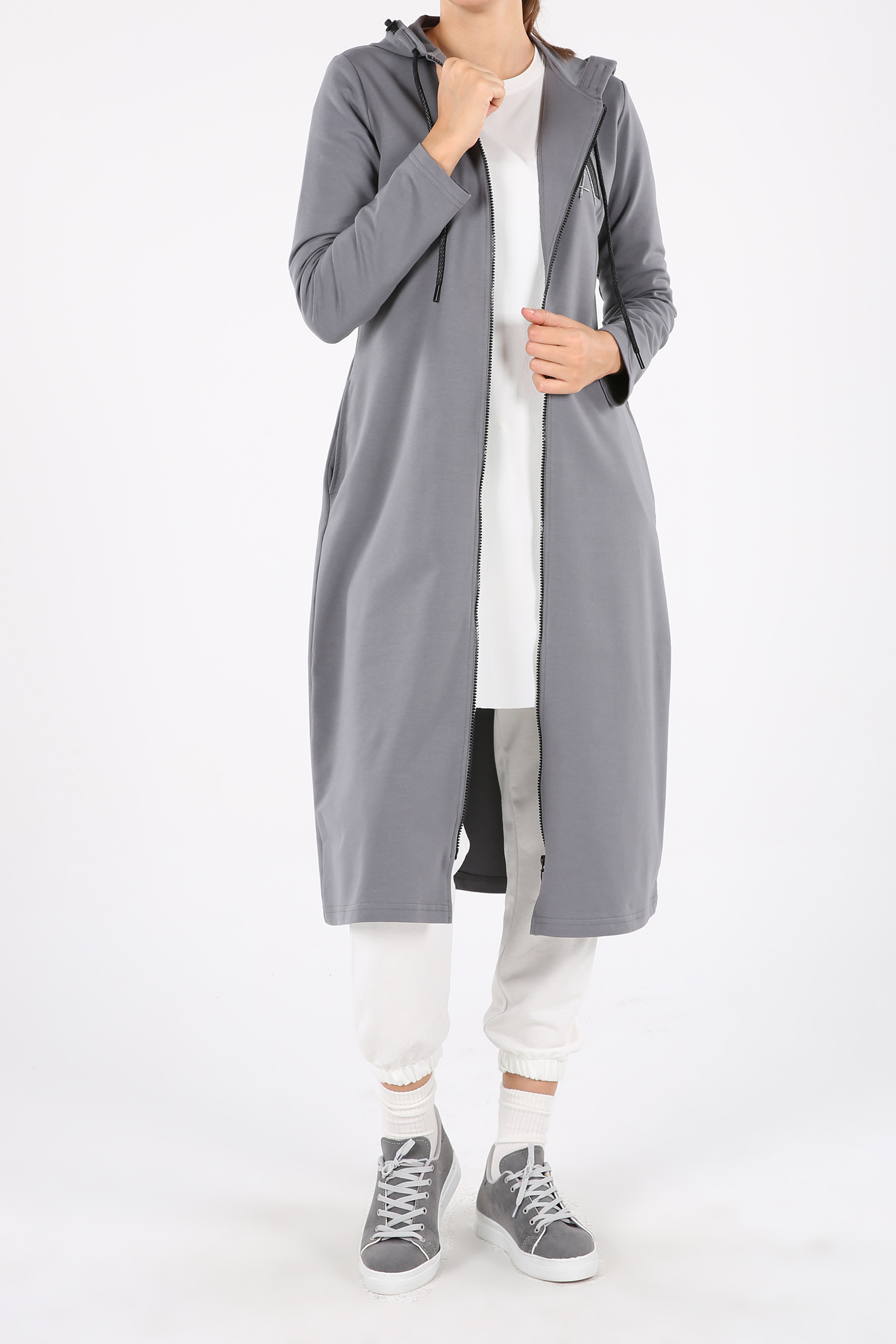 Embroidered Zippered Pocket Hooded Cardigan