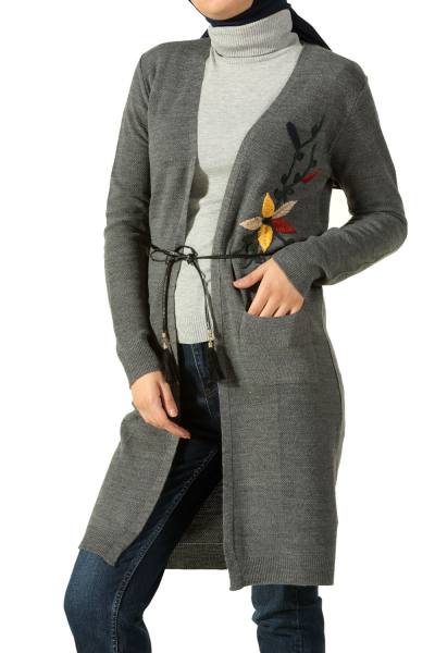 BELTED EMBROIDERED KNITWEAR CARDIGAN