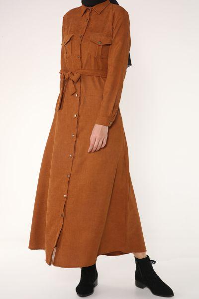 Kuşaklı Çıtçıtlı Elbise
