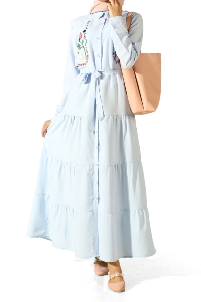 Embroidered Belted Dress