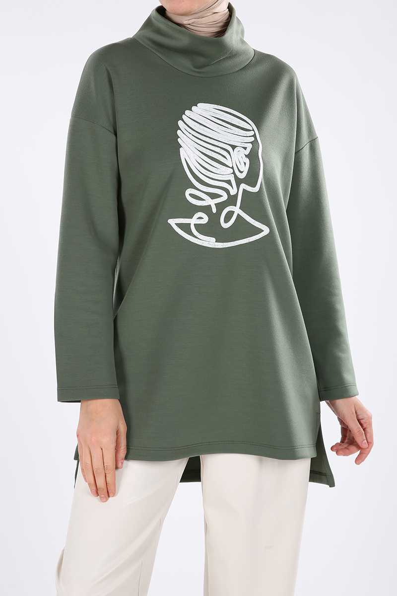 Embroidered Comfortable Mold Sweatshirt Tunic