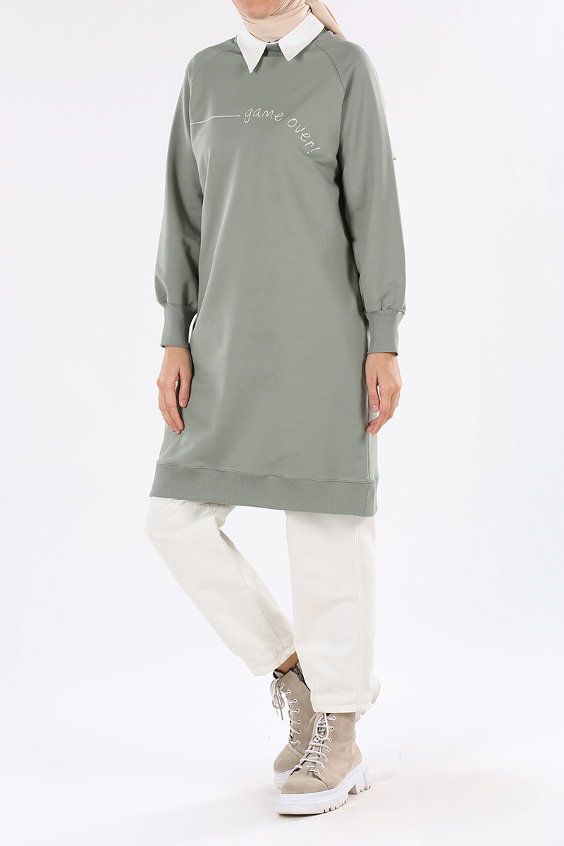 Embroidered Raglan Sleeve Sweatshirt Tunic