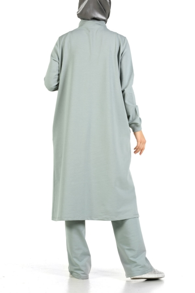 d080326a83 Mold Green EMBROIDERED RIPPED HIJAB SUIT - TK40118