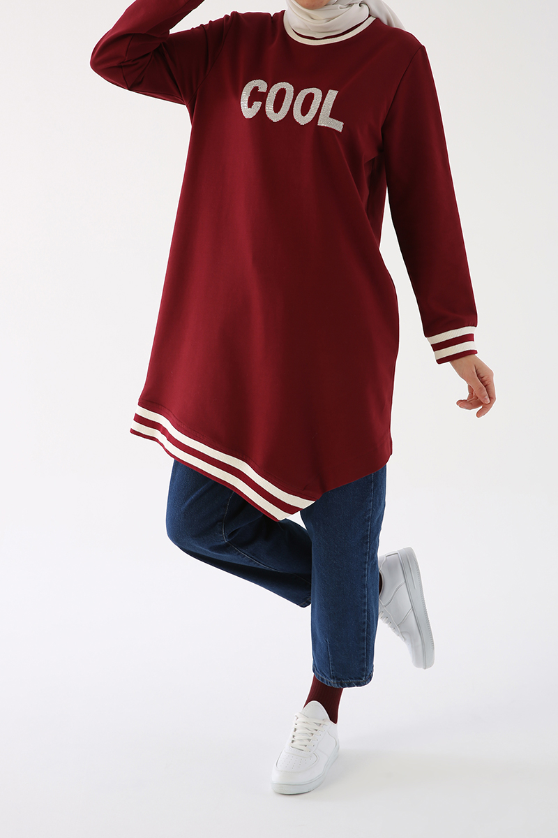Embroidered Sweatshirt Tunic