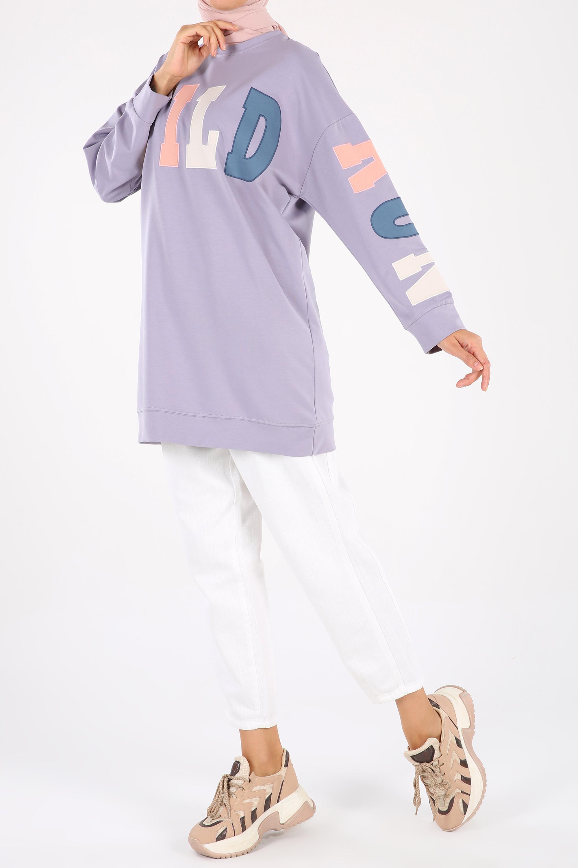 Embroidered Comfy Sweatshirt Tunic