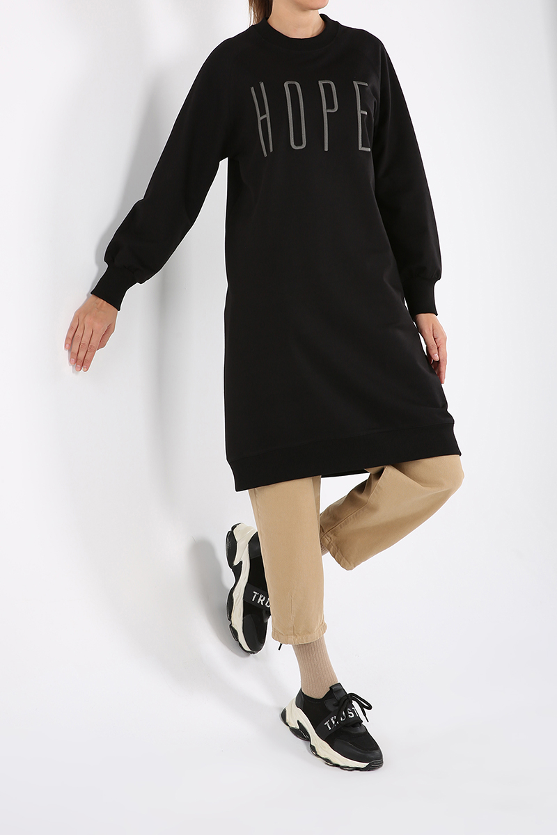 Raglan Sleeve Embroidered Sweatshirt Tunic