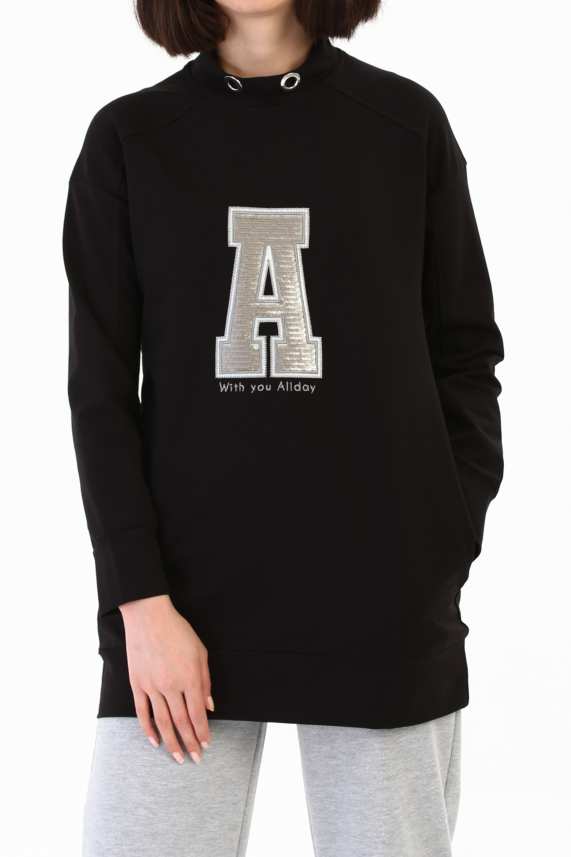 Embroidered Sweatshirt Tunic