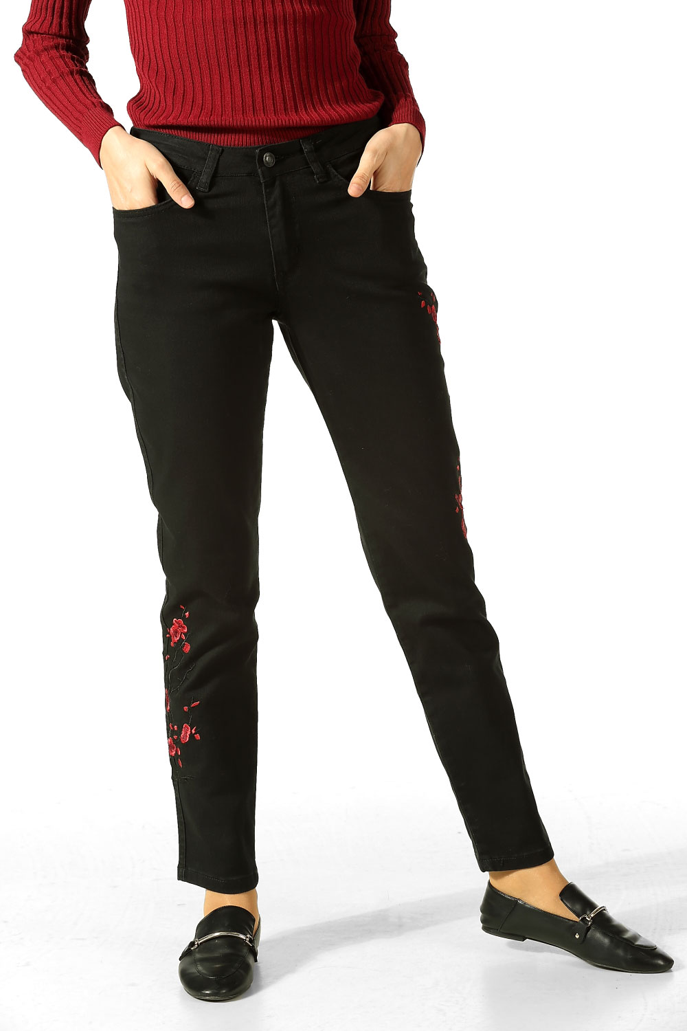 EMBROIDERED HIGH WAISTED HIJAB JEANS