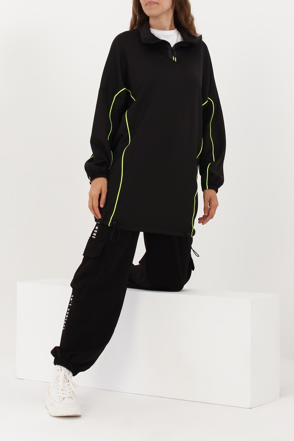 Neon Pleated Hem Sweatshirt