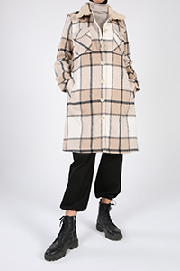 Oduncu Ekose Yakası Peluşlu Ceket