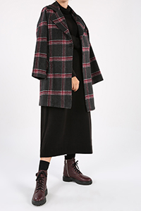Plaid Pocket Buttoned Lined Coat