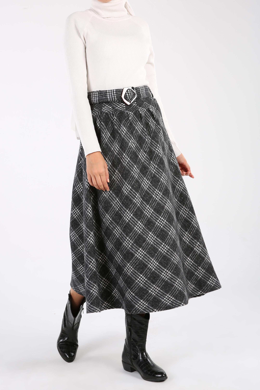 Lumberjack Plaid Belt Skirt