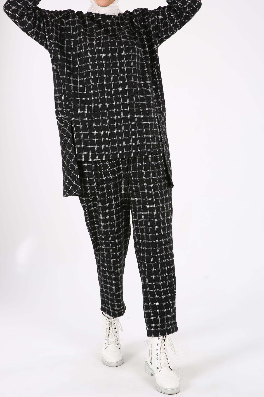 Plaid Long Blouse and Comfy Pants Outfit Set