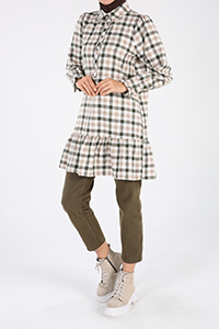 Plaid Buttoned Tunic