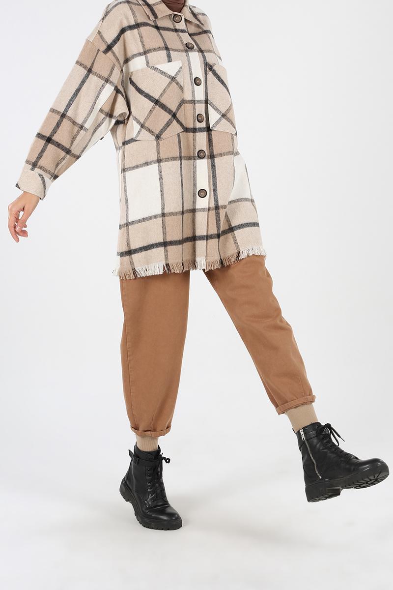 Plaid Tasseled Comfortable Mold Hijab Jacket