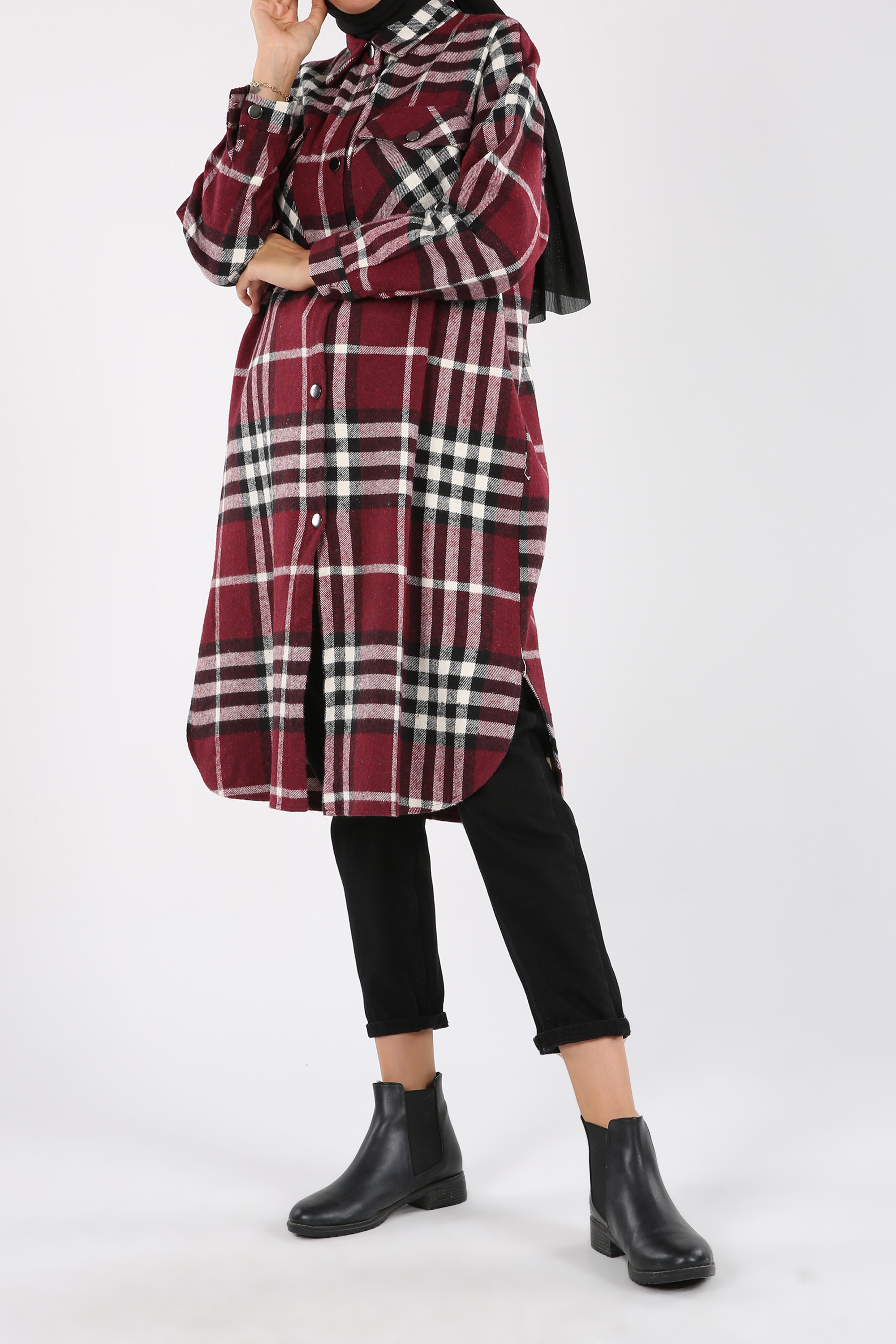 Plaid Button And Pocket Detail Shirt Tunic