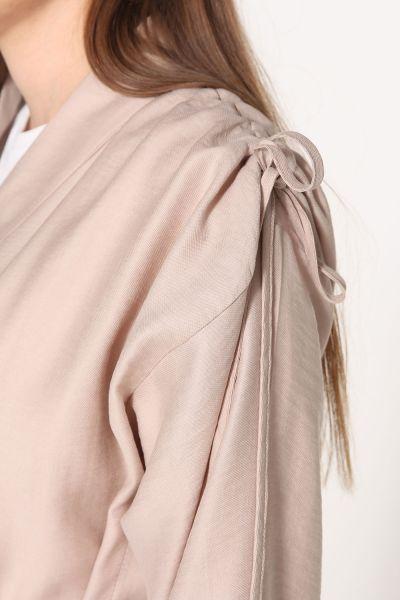 Omuz DEtaylı Kuşaklı Kimono