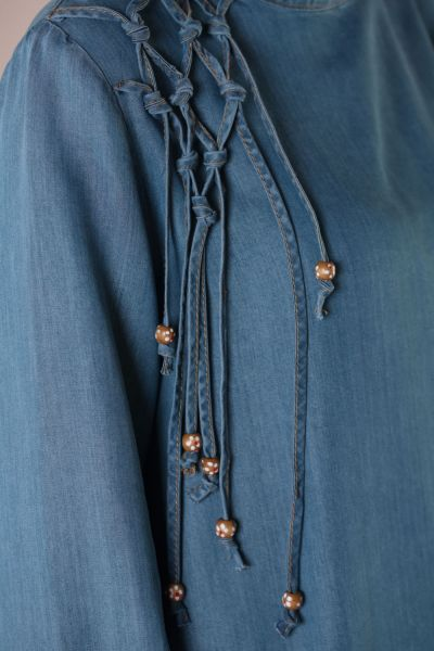 Shoulder Braided Denim Tunic