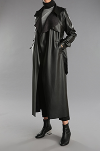 Button Detailed Leather Look Trench Coat