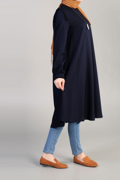 NATURAL FABRIC TUNIC WITH FRILL CUFF