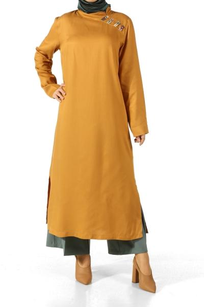Omzu Renkli Biritli Tunik
