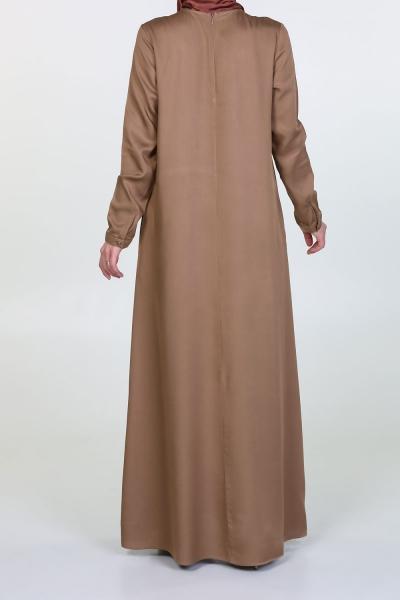 FRONT ROBA PRINTED NATURAL FABRIC DRESS
