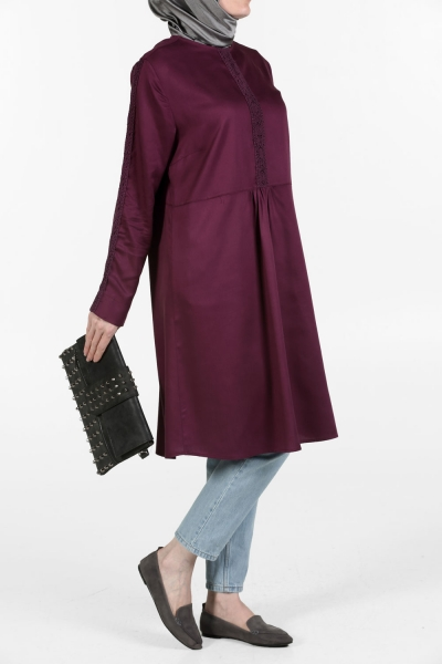 FRONT AND LEATHER DANTELLI NATURAL FABRIC TUNIC