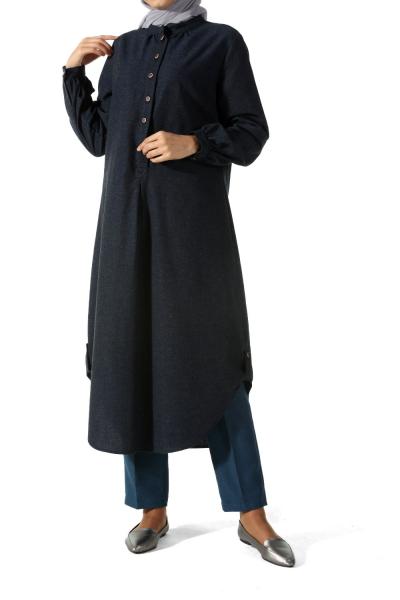 Ön Yan Düğmeli Uzun Tunik