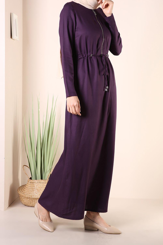 Bağcıklı Fermuarlı Elbise