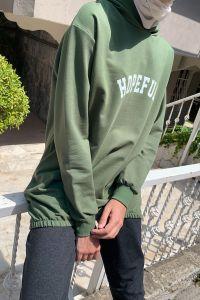 Önü Baskılı Kapüşonlu Sweatshirt