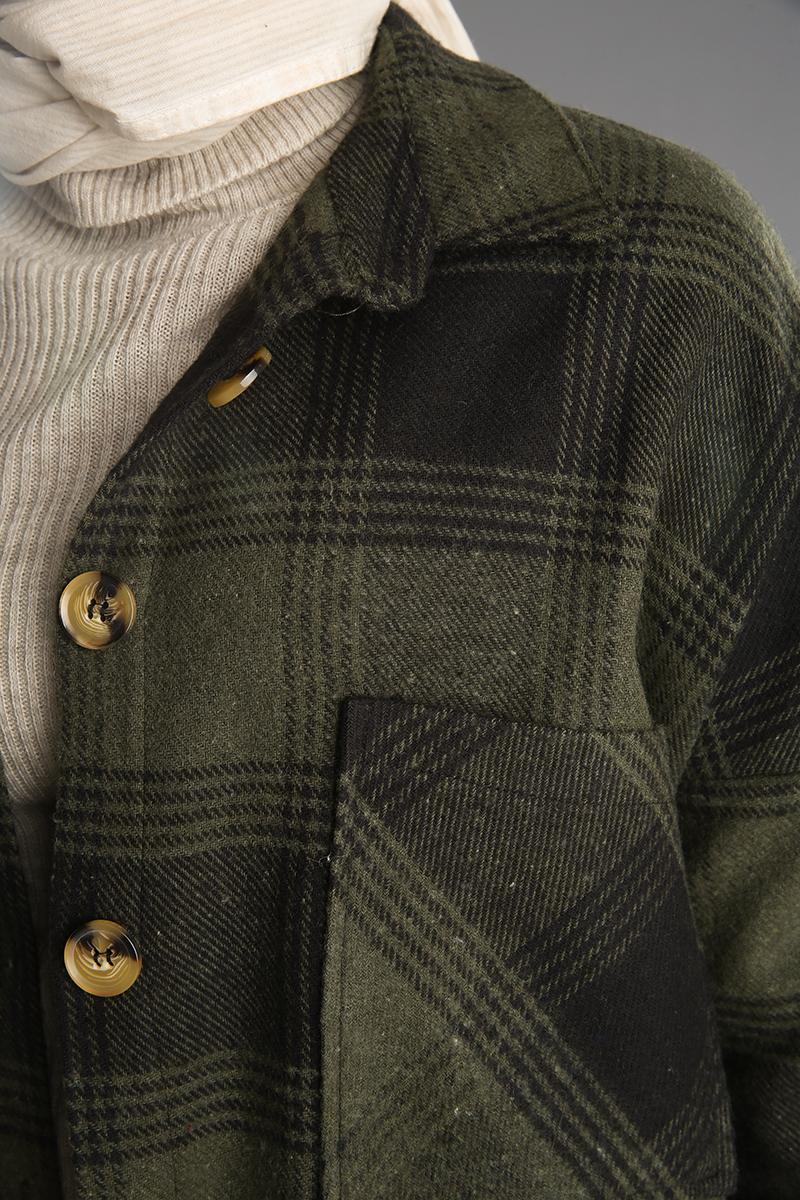 Önü Cepli Düğmeli Ekose Desenli Gömlek Tunik