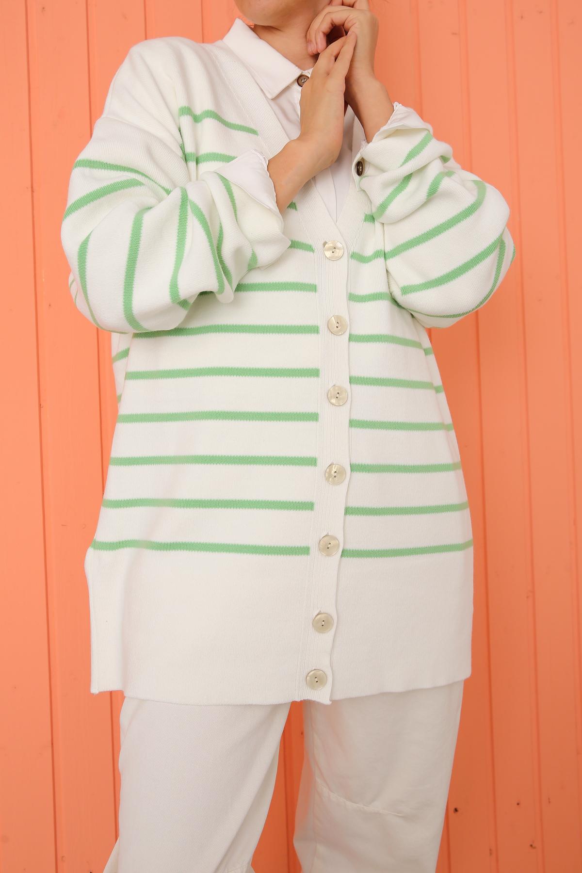 Button Front Stripe Knitwear Cardigan