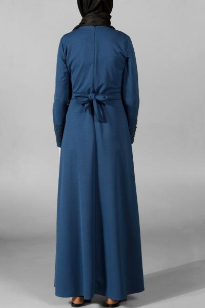Büyük Beden Taş Baskılı Kuşaklı Elbise