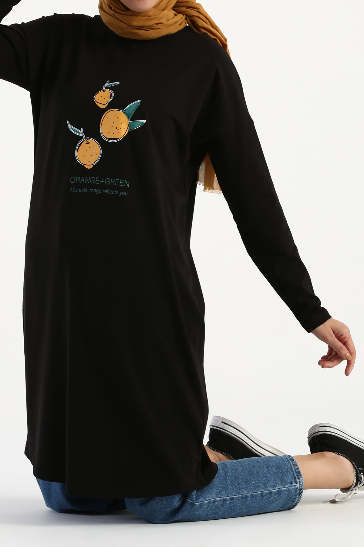 Orange Green Printed Long Sleeve T-Shirt