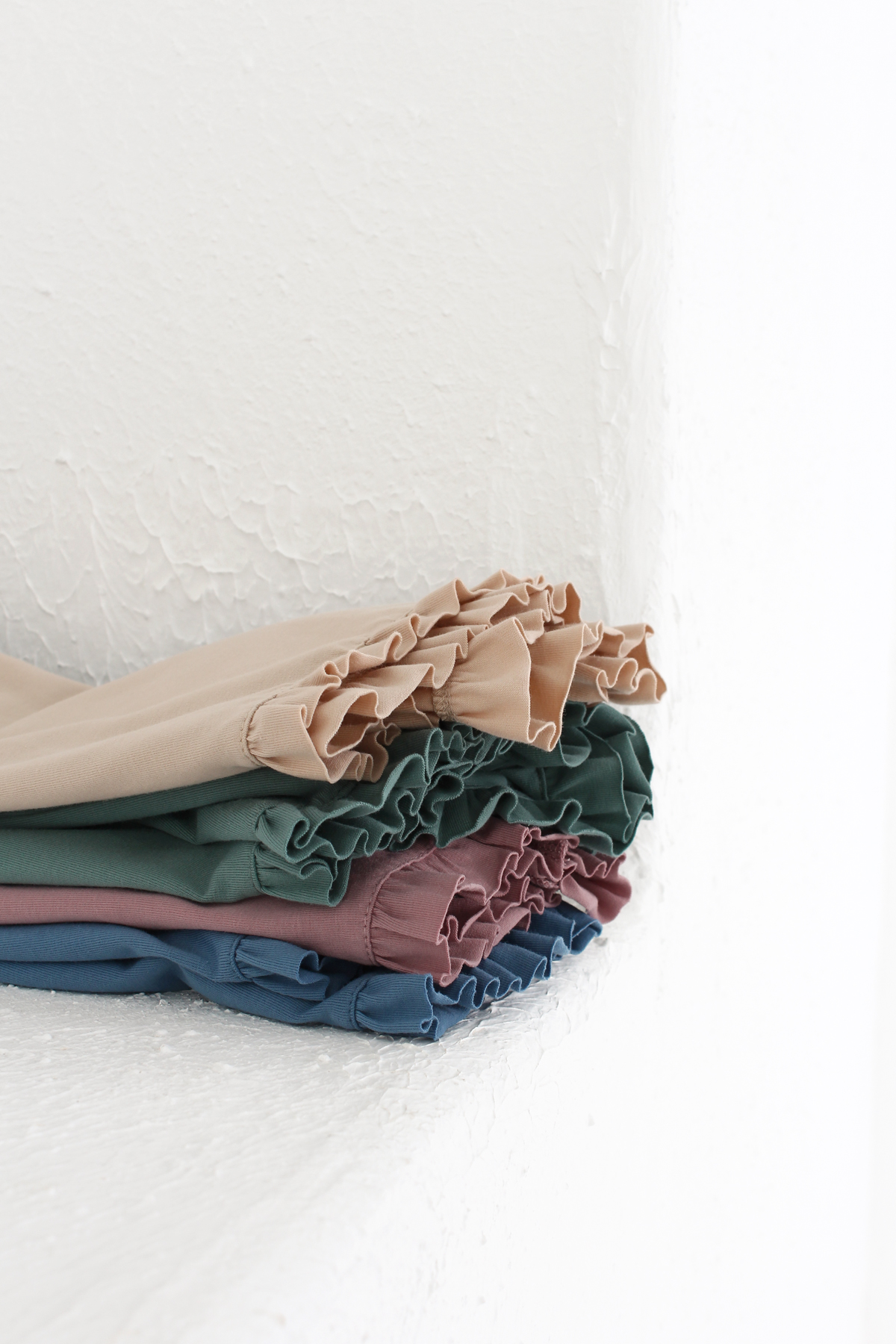 Knit Fabric Ruffle Shorts and Top Pajama Set