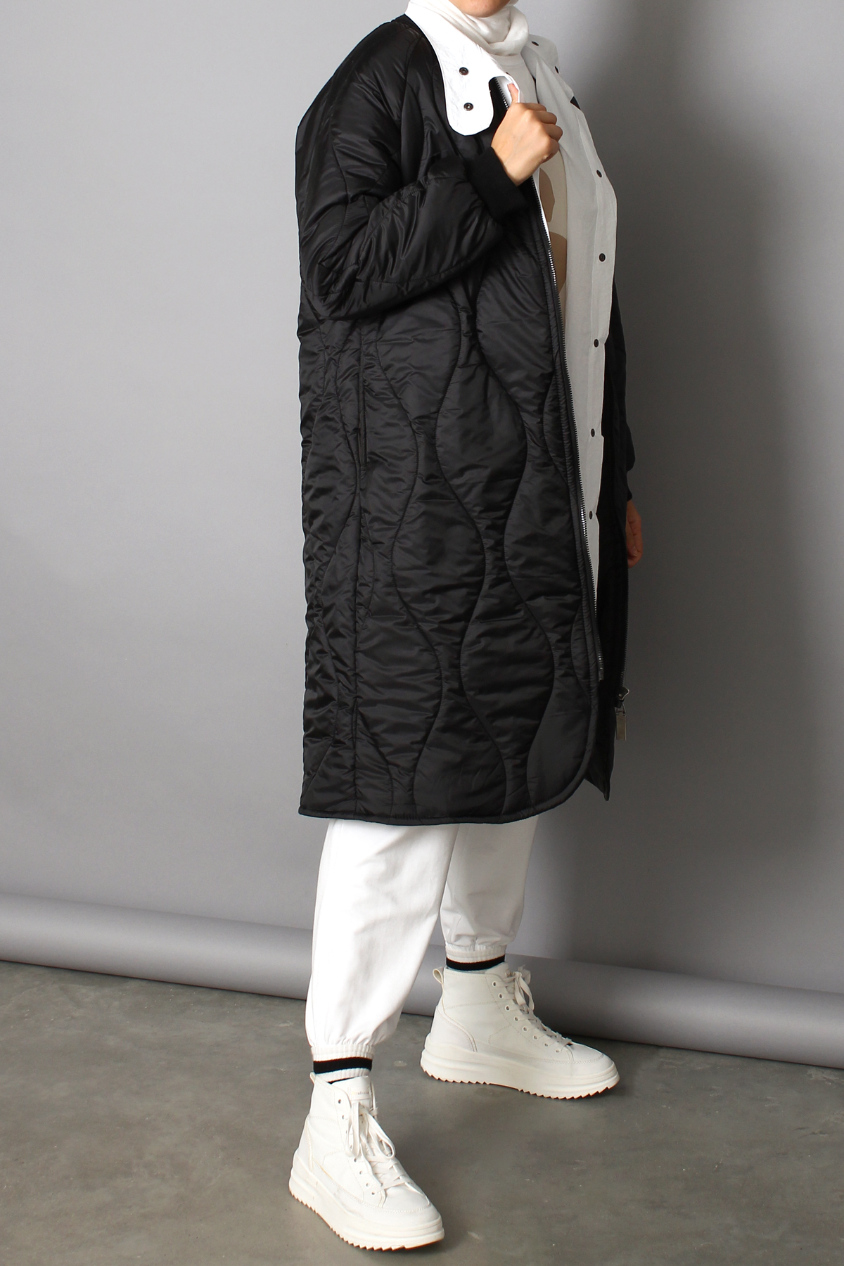 Oversize Mandarin Collar Coat