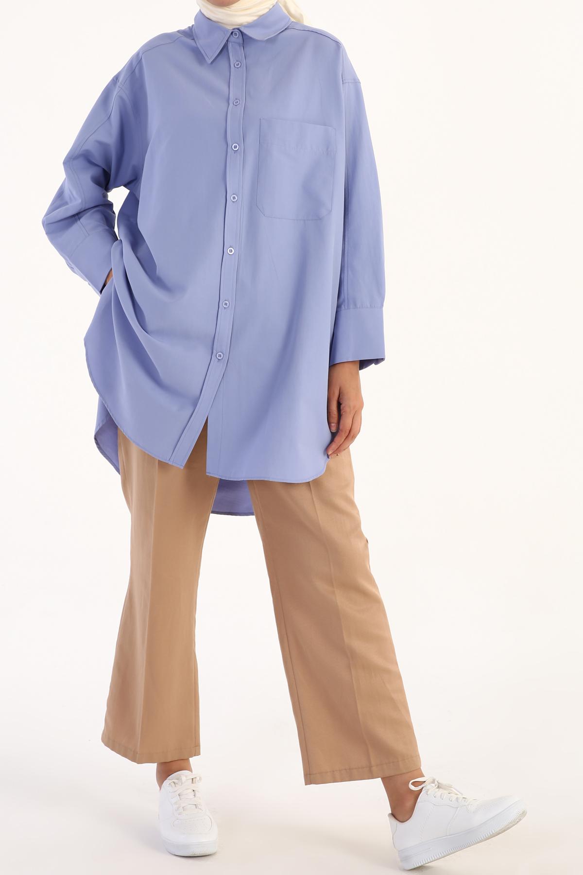 Oversize One Pocket Front Shirt Tunic