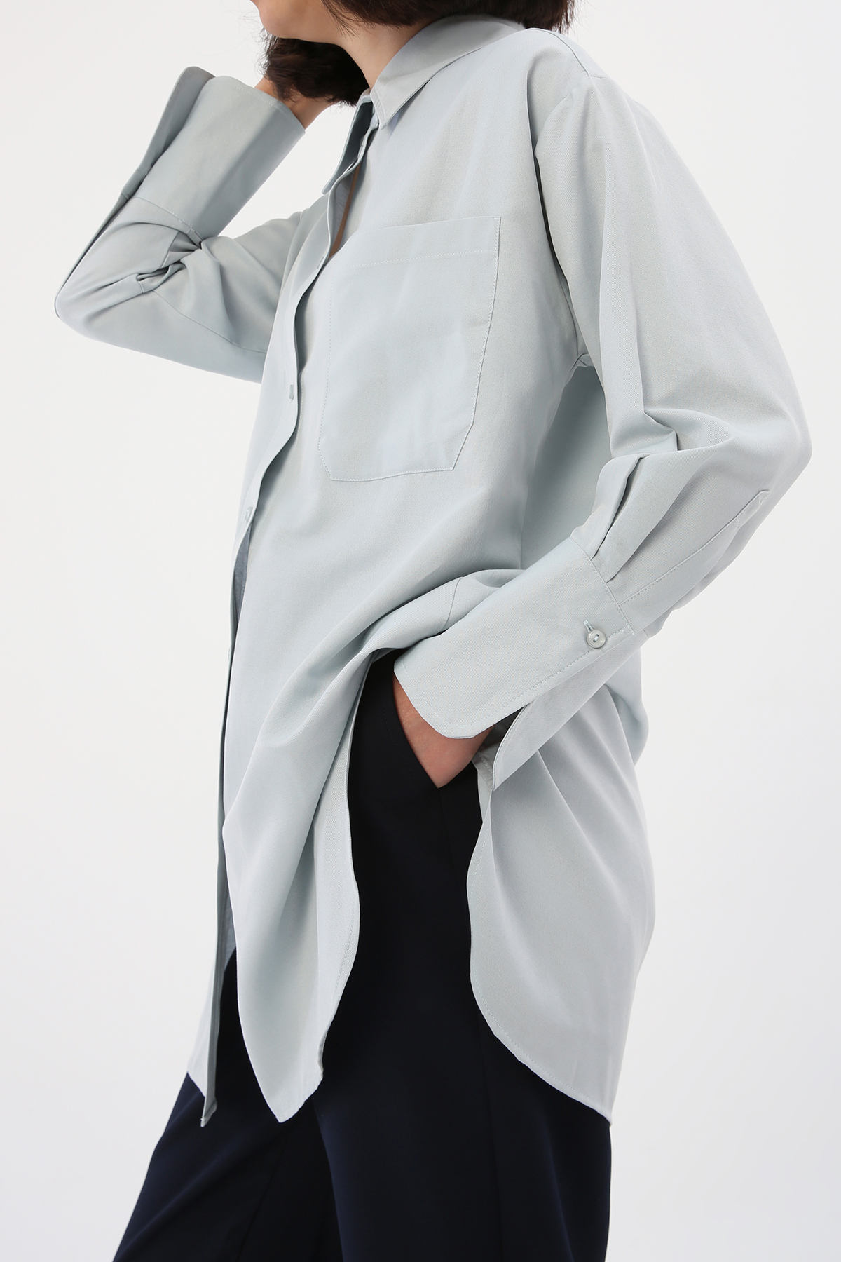 Oversize Basic Swing Shirt Tunic