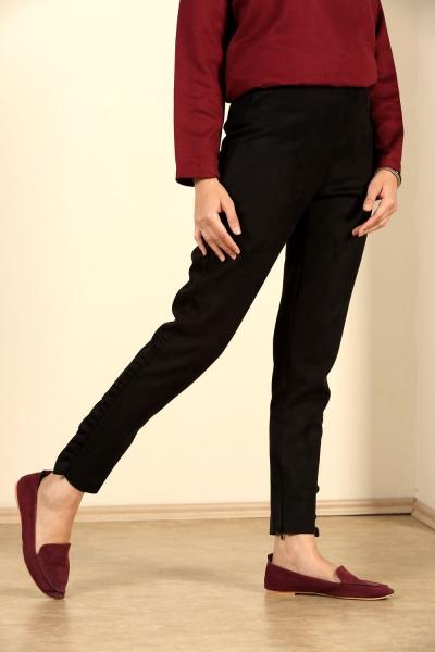 Fermuarlı Fırfırlı Süet Pantolon