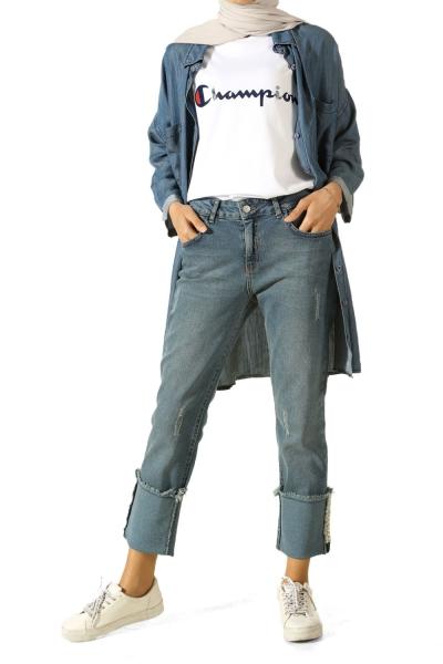 Paçası İncili Kot Pantolon