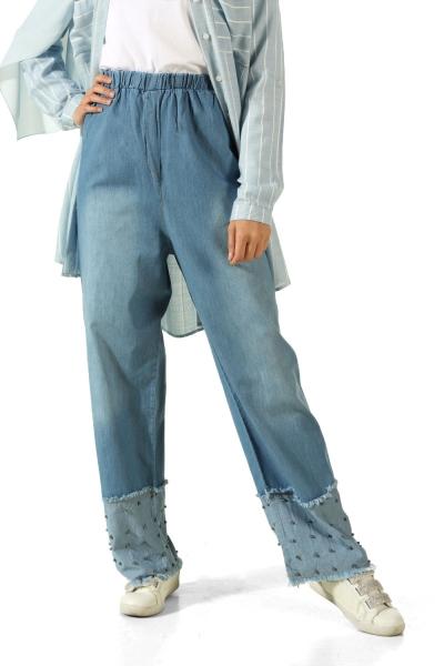 Paçası İncili Saçaklı Kot Pantolon