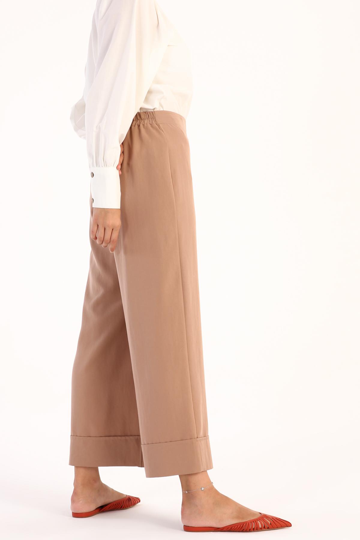 Hem Detailed Wide Leg Tencel Pants