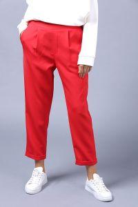 Paçası Katlı Lastikli Kumaş Pantolon