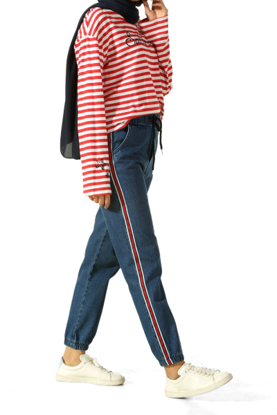 Paçası Lastikli Şeritli Kot Pantolon