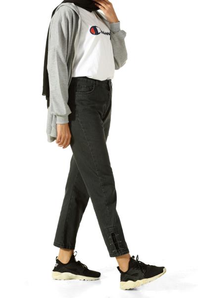 Paçası Metal Detaylı Kot Pantolon