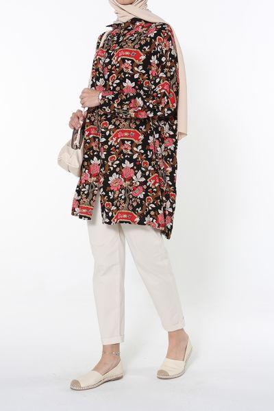 Desenli Yırtmaçlı Gömlek Tunik