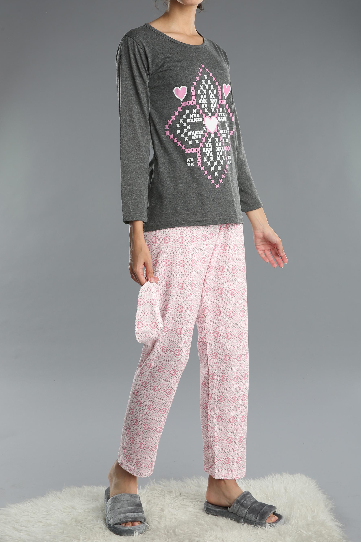 Pamuklu 3 Parça Desenli Baskılı Pijama Takımı