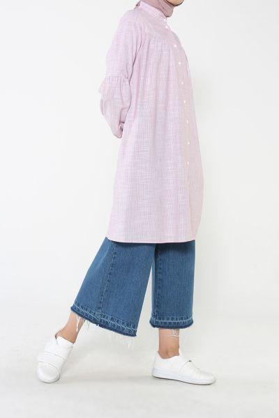 Büzgülü Çizgili Gömlek Tunik