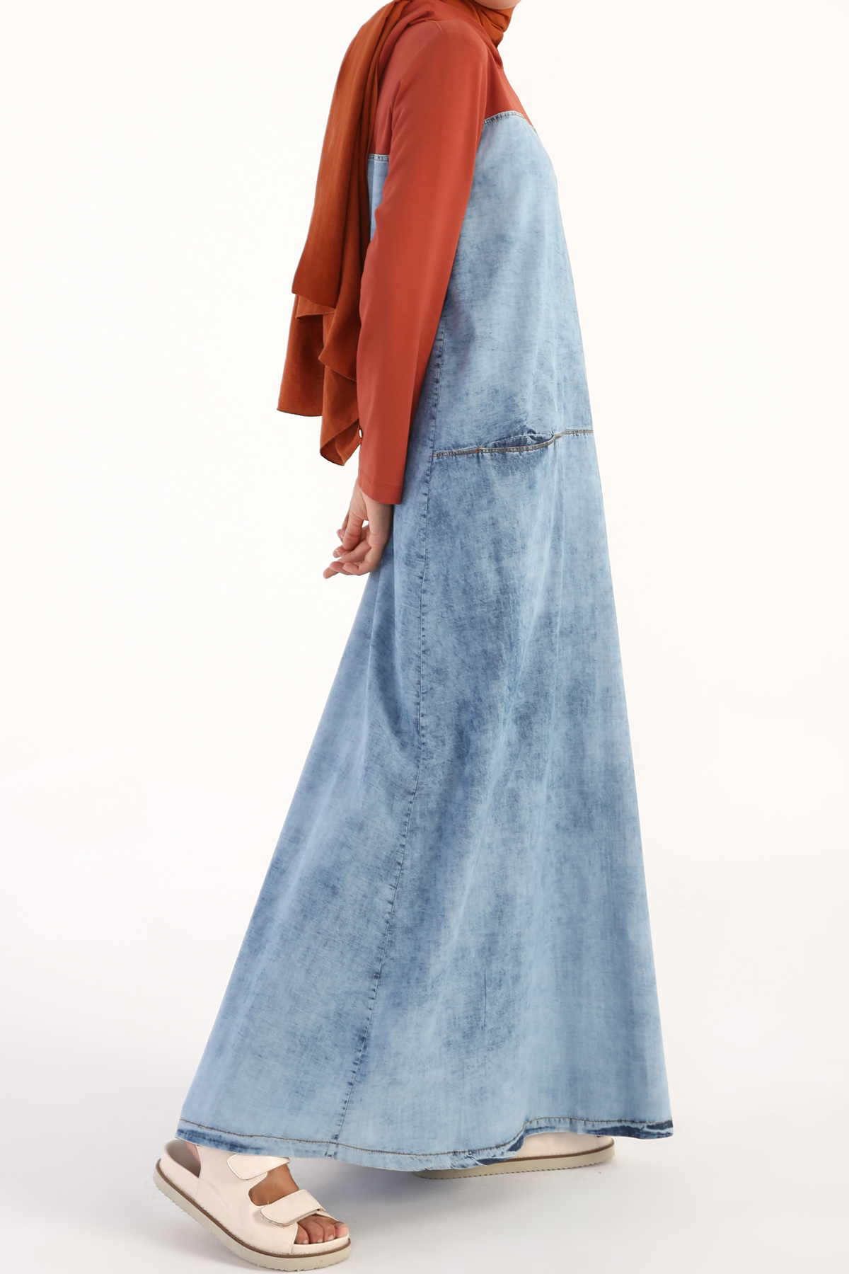 Hooded Cotton Long Jean Dress